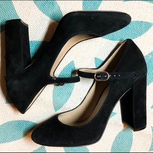 Vince Camuto Black Suede Ankle Strap Chunky Heels